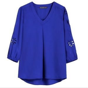 STITCH FIX Brixon Ivy royal blue blouse 3/4 sleeve